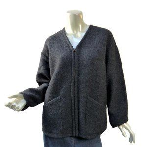 Vintage J. Crew Slant Pocket Gray Cardigan Relaxed Fit Zip Front Sweater M